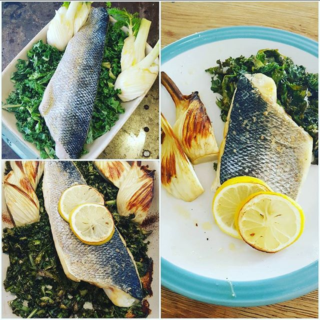 A healthy simple light lunch for a hot Summer's day, shown here from oven to plate.  Place kale first in a baking dish and lay a boned and filleted wild sea bass fillet on the top. I also added some fennel. The fish is seasoned with olive oil salt pepper and lemon. The kale is also sprinkled with olive oil or if you wish, coconut oil. Bake for about 15 minutes. A delicious, low carb and healthy meal!