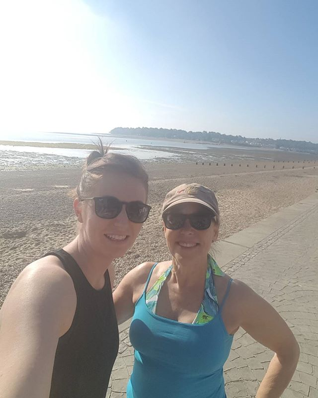 at the beach with trainer Chloe.  On my fitness regime and shoulder injury rehab with trainer Chloe on the beach.  What a beautiful place to work out in the morning.
