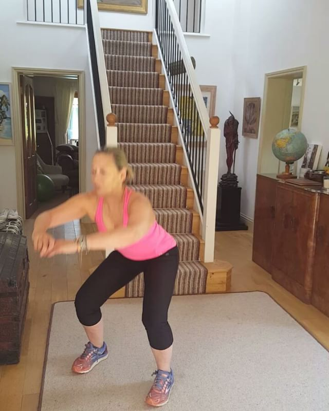 Friday morning squats for glutes and core  My ongoing health fitness and weightloss regime includes daily squats engaging the core and the glutes.