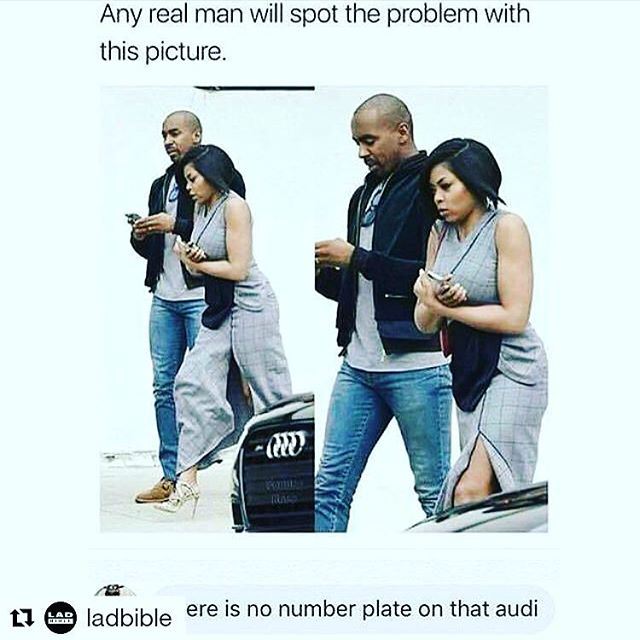 Is your man paying enough attention to you?  Or is he on his smart phone? That is what we girls would notice in this pic... But what do men notice? There's no number plate on the Audi!  Ha ha!