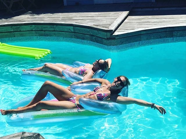My daughter and me on the hottest day of the year in my pool.  Obvs its the daughter in the front of the pic! Even having been on my weightloss transformation.