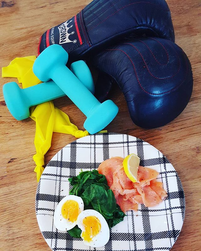 This morning's healthy low carb and protein breakfast after my training session.  The session includes boxing and light weights and bands to strengthen shoulder supporting muscles around the rotator cuff.  Also HIIT training with squats, lunges around the boxing bouts.