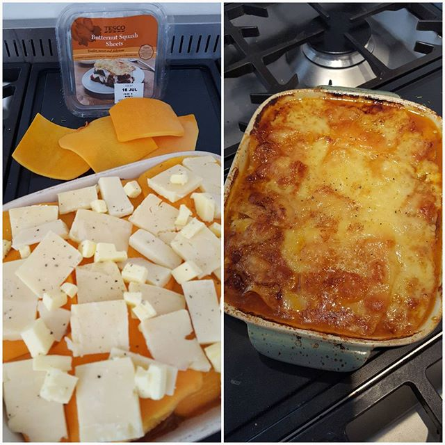 Is the miserable wet weather making you crave carbs?  Try this low carb healthy lasagne made with slices of butternut squash instead of traditional lasagne pasta sheets. Make the beef or veggie mince however you wish and alternate layers of the squash slices as you would when making lasagne. You could also add layers of grated cheese and white sauce if you like to make it more like a proper lasagne. I have used a mixture of cheeses on the top to make a lovely melted cheese crusty top. Yummy!