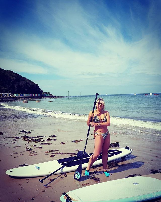 On the Isle of Wight beach at Colwell Bay today with my first attempt at paddleboarding. I've used a filter as I loved how it made the photo look more tropical but it was really hot and sunny with an amazing blue sky.