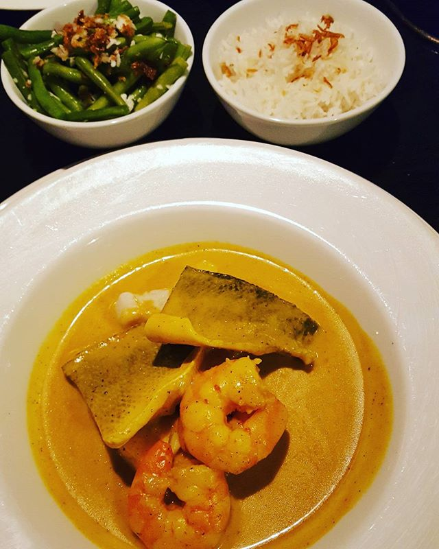 At Rick Steins  Fish curry, rice, green beans with crispy tuna, coconut and chilli