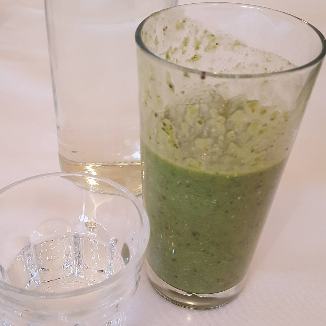 Starting the day with a green smoothie for breakfast.  Ingredients include coconut milk, soaked almonds, soaked chia seeds, soaked flax seeds (all soaked to be more digestible) avocado for good fats, spinach,  cucumber, ( good carbohydrates) lime juice, blueberries, water, vanilla extract, sea salt, raw honey, mixed spice (cinnamon coriander dill seed nutmeg cloves).  @grayshottspa