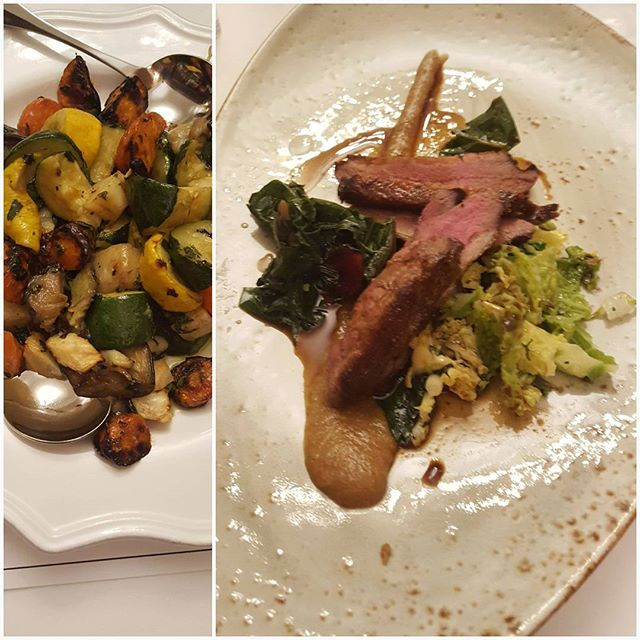"Final night of the 7 day regime @grayshottspa .  Yummy healthy last supper of ginger spiced breast of duck with rainbow chard, savoy cabbage and fig sauce with a side of mixed vegetables.  Green pea and mint soup to start.  The Grayshott regime teaches you how you can incorporate healthy nutritious but still delicious food into your daily life.  Eating proteins, complex carbohydrates ( vegetables) and good fats ( olive oil, coconut oil, olives, nuts, seeds and oily fish ) and fermented foods such as sauerkraut and kefir ( for gut health)  whilst excluding sugar and grains. ( and most dairy whilst on the regime) However onwards you can include butter and unpasteurised and well matured cheeses into your daily life as good fats in moderation are important for weightloss.  A low fat diet will cause your body to store fat as it will think its in starvation mode and  needs to keep all available fats to survive.  I lost 4 pounds during my stay eating 3 meals a day as seen over the last week of posts with 2 fast days (5:2) of no breakfast, a large lunch and a bone broth for supper.  Nevet felt hungry once. Today I feel healthy, renewed, invigorated, lighter, and positive in my mindset to go out and face 2018 with energy and enthusiasm  And to help my clients look and feel their best from inside out. You can see what I do at my website Link in bio. Free initial phone consultation. I look forward to hearing from you. Message me!  I will pick one person at random to receive a complimentary copy of my book ""Discover the New you, celebrity stylist secrets to transform your life and style"". Thank you @grayshottspa for a lovely stay."