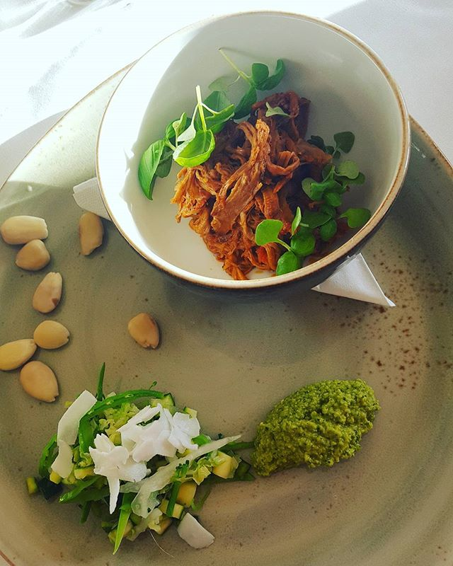 Lunchtime  Pulled pork shoulder(with Moroccan style spices) with green pea dip, blanched vegetables and soaked nuts (blanching and soaking makes them  less indigestable than raw). A side of mixed vegetables too.  @grayshottspa