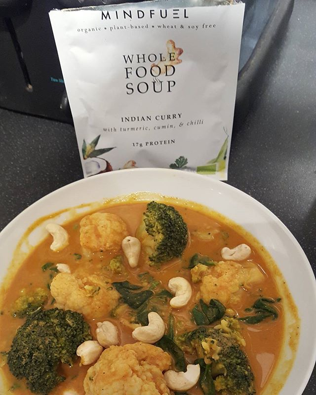Sometimes when you fancy an instant homemade curry.  Found this packet curry soup in the Health food shop which had all natural ingredients, no additives wheat or sugar and was properly delicious.  I simply added boiled water to the powder.  It had turmeric, cumin and chiĺli, all excellent anti-inflammatory spices and great for health and weight loss. To make the soup more of a substantial supper I added some cauliflower, broccoli and spinach and cashew nuts.