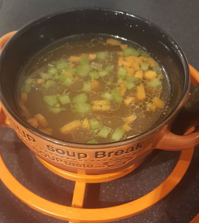 Tonight's chicken bone broth supper.  Recipe as in the earlier posting. I've added chopped carrots and celery for a bit of crunch.  #5:2diet
