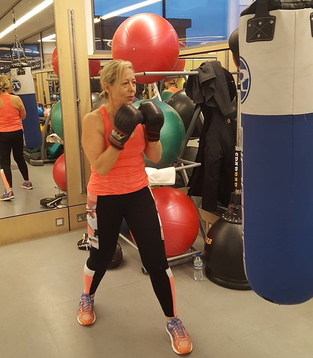 Tuesday morning early HIIT boxing training session.  Love boxing for having to be mindful, be in the moment and focus.  Also brilliant for cardio, toning, upper body, arms, waist, glutes and legs And also the brain for remembering the sequences. HIIT is the best way for helping increase your metabolism for most efficient  weightloss (of course together with how you moderate your eating). You dont have to be young to start a new sporting activity. #nevertoolate. I'm 63.