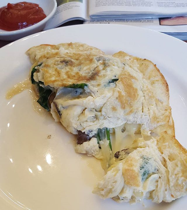 A late breakfast after the pilates class.  A cheese mushroom and spinach omelette .Yes you may have spotted Ketchup in the photo.  Although Ketchup has sugar which I exclude from my own eating regime and recipe suggestions,  just sometimes a little taste of what you fancy is better than total denial so you dont crave.  healthyfood