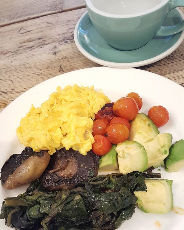 Healthy eating Sunday brunch inspo.  Scrambled eggs, avocado, tomatoes, mushrooms, and spinach or Kale ( your choice) . All cooked in organic butter or coconut butter.  Hot water and lemon for liver cleanse to start and an Expresso coffee after.