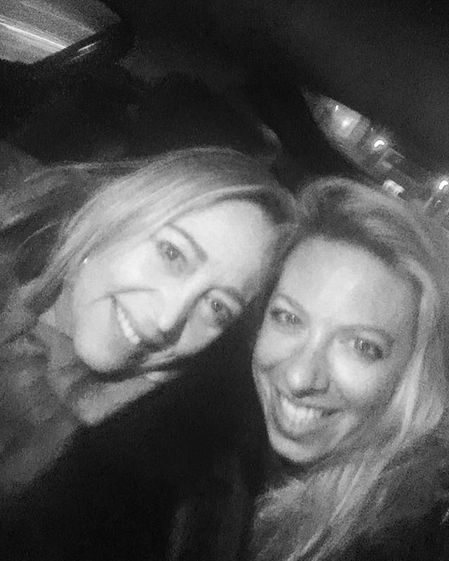 Mother and daughter girls night out Taxi ride home after dinner at Quaglino's Lighting courtesy of the Uber driver.