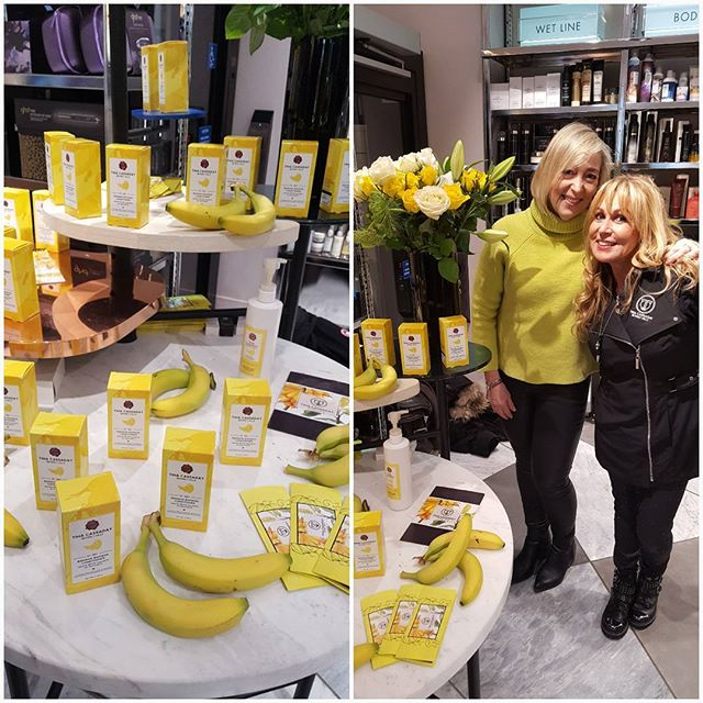 With Tina Cassaday, Beverley Hills celebrity hairstylist and colourist at Harvey Nichols today in the Beyond Beauty section at the UK launch of her brilliant new hair conditioning product Banana-Banana.  A blend of Banana pulp and liquid fruit extracts for intense conditioning. Smells delicious!  Feels great even on the skin too. Coincidence that my sweater was matching the product!  @harveynichols  @tinacassadaybh  @tinacassaday