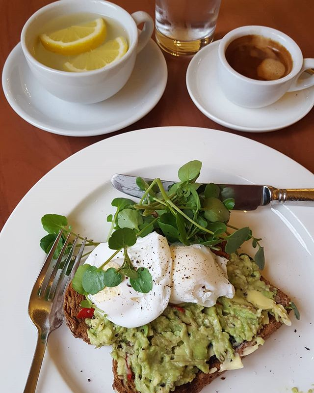 A healthy breakfast sets you up for the day.  Hot water and lemon first.  Avocado on sourdough toast (complex carbs) Poached eggs ( protein)  Watercress ( iron)  A single Espresso coffee (better with food than on an empty tum as it affects your own natural energy resources)