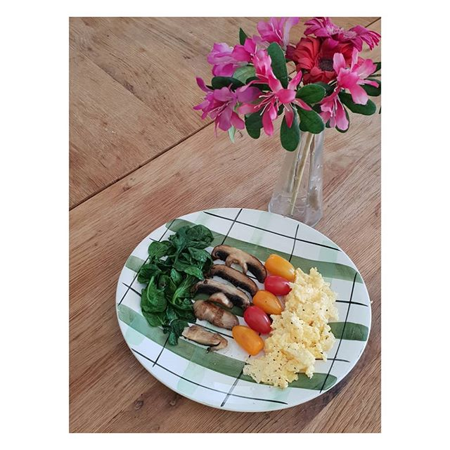 Friday's healthy low carb and protein breakfast.  Scrambled eggs cooked in organic butter, mushrooms, tomatoes and wilted spinach.  What did you have for breakfast?