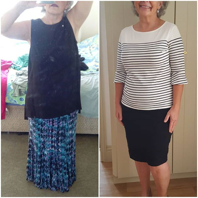 The third of the before and after outfits for the same client.  Showing a more bohemian look from her own wardrobe outfits as the before photo and the new more flattering outfit for her business speaker events.  Looking stylish, professional, tailored and authoratitive.