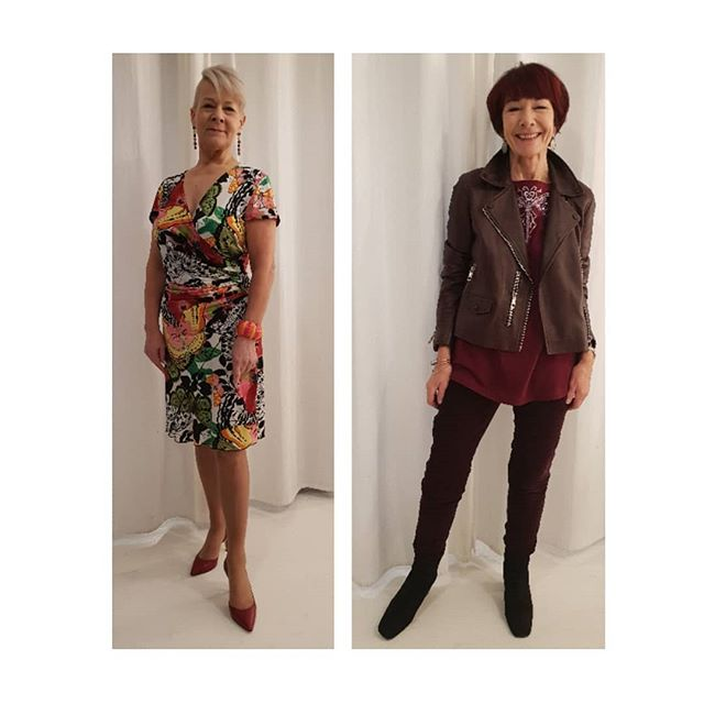 "2 more of my age 50plus ladies Styled by me for the @lookfabforever TV commercial. ""Act the age you feel"" is the look on the left and ""No olds barred"" on the right. When you reach age 50 and beyond don't become invisible by dressing to fade into the background. Be bold with colour and design but always dress to flatter your bodyshape. . . . ."