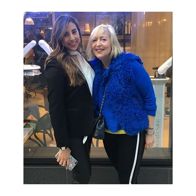 At the Suman Brows Beauty Atelier launch party at Hershesons London.  With the lovely Suman -the go-to guru of microblading brows.  I'm wearing..... Blue fur filet-Joseph Blue cashmere sweater-M&S Tracky bottom leggings-Zara Bag-Chanel. Blonder hair again with thanks to @chanelnott . . . .  party