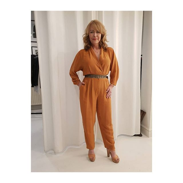 """Look fabulous forever"" makeup brand TV commercial styled by me.  One of my 10 ladies who I styled for the TV commercial in an orange retro '80's jumpsuit . . . . . .   @lookfabforever"