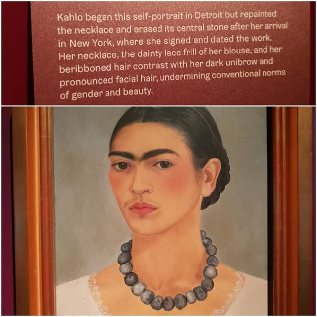 "1933 Self-portrait Frida Kahlo exhibition Making herself up @vamuseum London. Frida's mono-brow and facial hair were not the beauty norms even at that time. She used an eyebrow pencil in Ebony to accentuate her brows and Revlon '""everything's rosy"" lipstick  and red nail varnish."