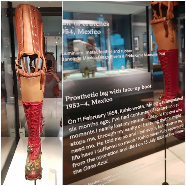 Frida Kahlo @vamuseum London. Even after a leg amputation Frida remained true to her own unique personal style customising her prosthetic leg with a stylish  decorated boot.