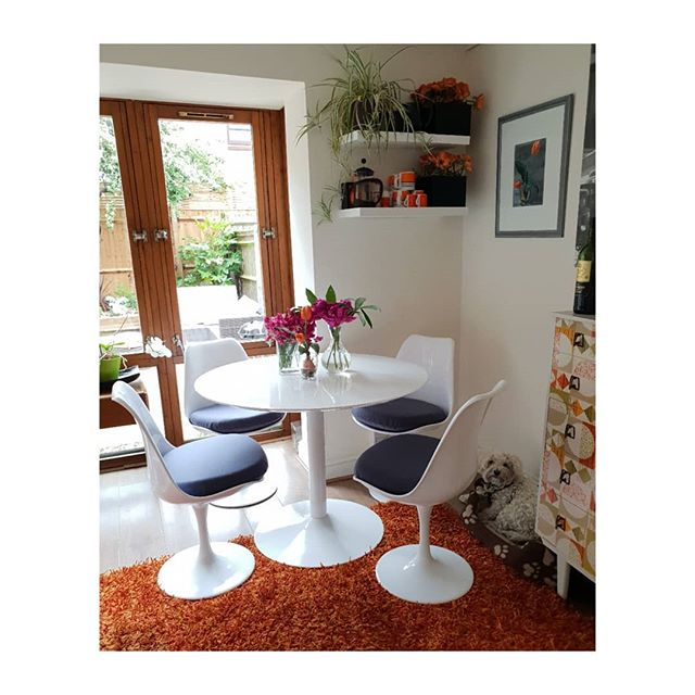 Loving my new stylish Tulip kitchen chairs.  Thank you @pashclassics for getting them to me in less than 12 hours! They finish off the 50's style vibe in this kitchen corner. Spot @misslucy_lou the bichon/westie cross on her bed in the corner.  She always wants involved and to be in the picture. The fuschia coloured Sweet Peas and beautiful Peonies are all from my Isle of Wight garden. The orange Tulips are silk fakes.  I often mix real flowers with fake when interior styling or staging a property. . . . . .