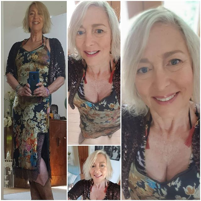 Today I'm wearing....Isle of Wight festival day #3.  I'm wearing a silk slip dress from Zara sale Summer 2017, a brown vintage Kookai sequin shrug circa 1980, vintage cowboy boots circa 1990. . . . .