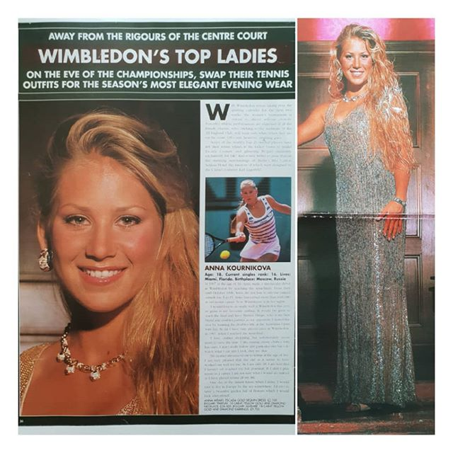 "As it's Wimbledon fortnight I thought I'd continue posting some more images of past Wimbledon champions styled by me.  Anna Kournikova aged 18, styled by me in Berlin. She'd refused to participate in my photoshoot when requested in advance from London.  However when she saw Polaroids of other players from my day's photoshoot she loved their photos, and unexpectedly turned up at the end of the shoot with most of her Russian family members. There were a lot of them.  She loved the Escada dress I chose for her to wear and the Bvlgari diamonds.  As she had come straight from the Berlin open tennis tournament all she had with her was her sports bra and no other suitable bra to wear with the dress and she was very keen on having lots of cleavage showing.  The only bra I had with me was a ""Wonderbra' ( if you remember the Eva Herzigova ""Hello Boys"" wonderbra ad ) plunge bra of my own in my suitcase which I of course lent her.  She still wanted more cleavage, so I obliged using contour shading.  She was to be on a magazine cover as the editor loved the photo of her so much. However her L.A. agents were less than pleased when they saw the photos as no one knew that she was about to be endorse and be advertising a sports bra which apparently made her cleavage innapropriate at that time.  Who was to know this?! So we were not allowed to use the full length photo, hence the cropped head shot which ended up as the magazine cover photo. The full length photo was never used. . . . . ."