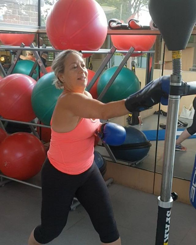 Harder than it looks!  Early morning boxing training and HIIT workout.  Much easier to box with a trainer and pads than it is with this boxing practice machine that swings right back at you. . . .