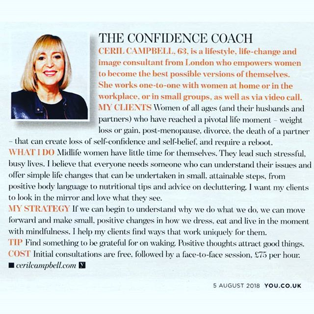"As seen in Mail on Sunday YOU Magazine. ""21st Century problems? There's a mentor for that....."" Modern living may be throwing up dilemmas we've never faced before-but theres a new breed of therapist rising to the challenge. And they're just a click away. The Confidence Coach...That's me.. . . It's free to message or call me for an initial phone chat to see if I can help you to become the best version of you that you can be. . . . . . . @youmagsocial @rory_photo"
