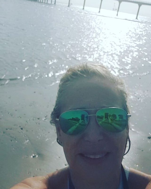 Early morning beach walk and swim with @misslucy_lou .  Bembridge, Isle of Wight but it could be anywhere in the Mediterranean today. . . . . . .