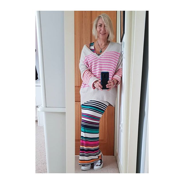 Stripey Sunday. . . Needed to wear colour as it's such a grey day today. . . I like to mix High street with Designer. The cashmere sweater was an M&S sale bargain.. Bought in size 20 (  so I can wear it big and sloppy-I'm a 10/12) . . . . .