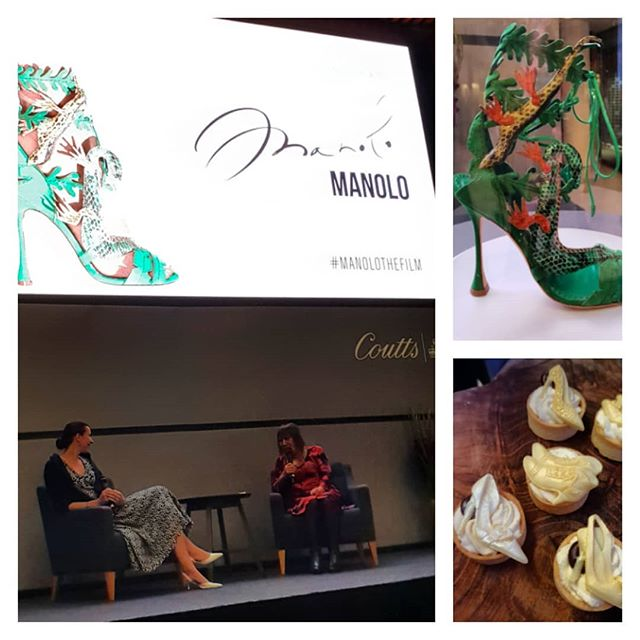 An evening at Coutts Bank Strand London.  A film about Manolo Blahnik directed and written by Michael Roberts  and Kristina Blahnik in conversation with Hilary Alexander. Champagne, shoes which are works of art to covet and little mini cake shoes to eat What more could a girl want..... . . . . . .