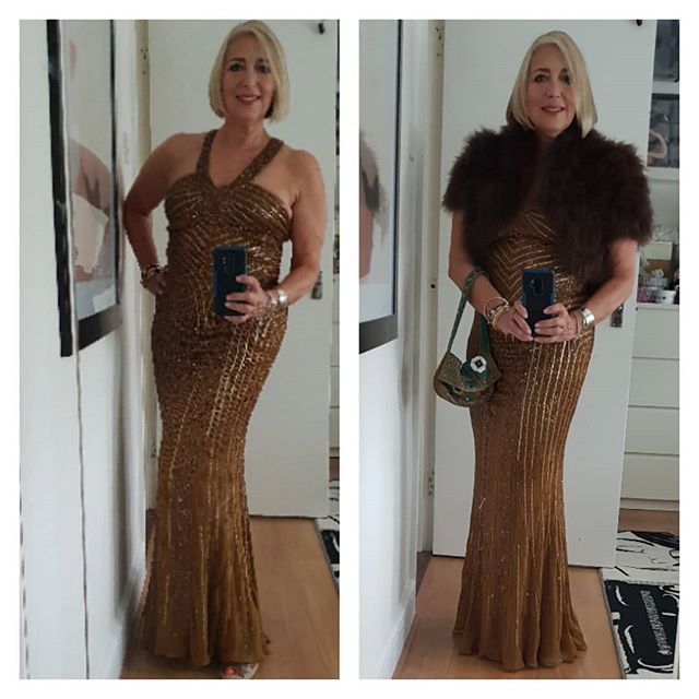 """Cinders you can go to the ball""... . . Off to a masquerade ball.  Obvs no mask on yet!  Only mask so far was the beautifying face maskas seen in the earlier bathroom post.. . . .  Gold sequin vintage dress from 1980's . Maribou jacket from Zara about 10 years ago.  Beaded vintage Fendi lookalike Baguette bag. . . . . . ."
