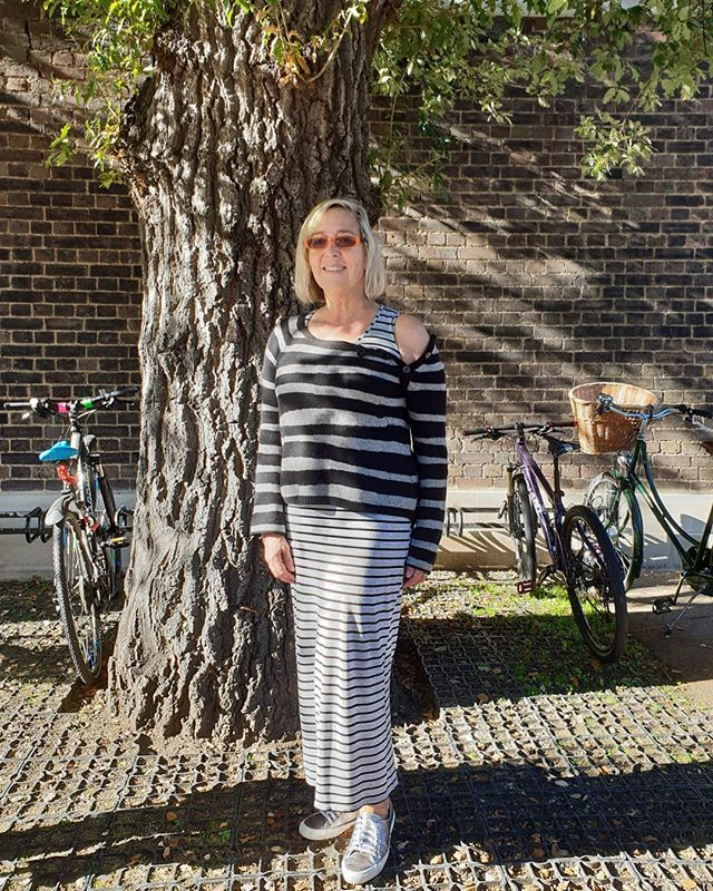 Today's Stripes.  Sloppy, Sunday comfy dressing. . My posts are always non-filtered and exactly how I look that day. . It shouldn't be necessary to filter, Facetune, or create a social media enhanced perfect version of yourself. . NO celebrity or client I have ever styled or dressed for the Red Carpet has had a perfect body or skin.  You can always aspire to be the best version of yourself but your imperfections are what make you unique. . Be confident enough in your own self-image and body-image to not judge or compare yourself to others, especially others' fitered Instagram posts. They're not real. . Tshirt dress: Primark Sweater: Zadig and Voltaire  Metallic trainers: Superga Specs: People . . . . .