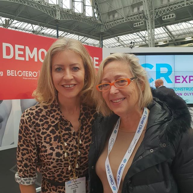 "With @alicehartdavis @ccrexpo  Alice (award winning beauty editor) is looking super glam whereas I am less glam,  more ""au naturel"" with no-makeup and mad orange specs. . I am at the CCR expo, an event for the clinical cosmetic and reconstructive surgery communities My video clips are of the Tixel eye rejuvenation treatment with @drsabrinashahdesai A dermal filler injectables nose reconstruction  And facial contouring with Accent Prime machine with @drpablonaranjo . . . ."