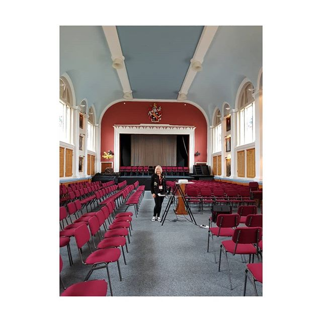 The empty school hall before all 100 year 12 pupils arrive for my talk on body image and confidence. Royal Russell School. . . . .
