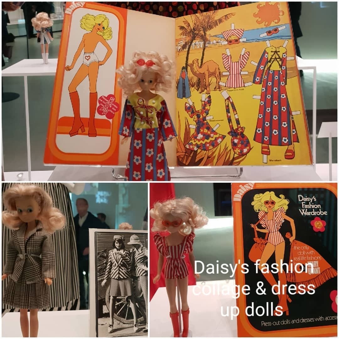 Mary Quant at the V&A part 2. . The thing that really stood out to me was how different the fabrics were that we wore then to now. Much more rigid and flexible and quite bulky. . These video clips include: The Daisy dress up doll ( I remember I had one of the cut out and paste books of these as a child.)! 1960s sportswear Quant style  The mini Quant wore to collect her OBE The jersey dress ( the first time stretchy jersey had been used as a clothing fabric)  The Quant collection of everything from tights to sunglasses to makeup The cape  Dresses with matching frilly pants The journey of the mini from knee to very short. . . . . . . @V_and_A @vamuseum @kingsroad.london @martinsproperties