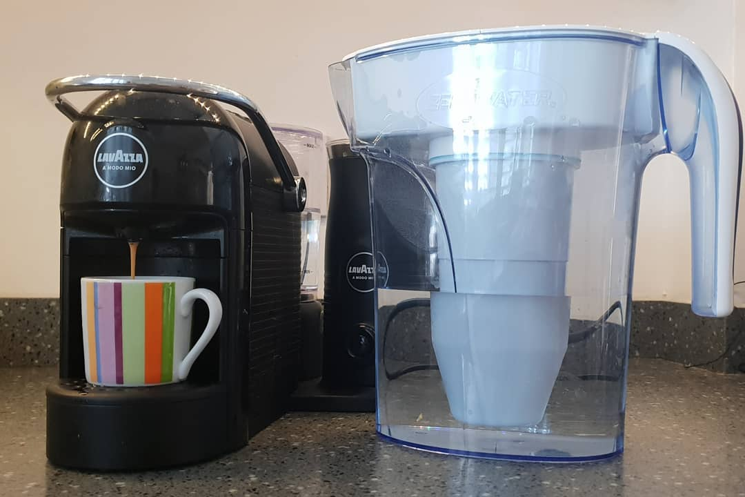 The two items I couldn't live without in the kitchen this Summer were: My @zerowateruk filter jug to filter my tap water making it taste as good as the bottled water I used to buy daily, and also in my opinion filtering more efficiently than other filter jug brands. And My Lavazza coffee machine for my morning expressos and guests' capuccinos. . What are your kitchen must haves? . Btw... It's always good to drink a glass of water together with every cup of coffee. Coffee is a diuretic. When diuretics flush away sodium, the body also flushes away water, dehydrating the body. . . . .    @lavazzauk