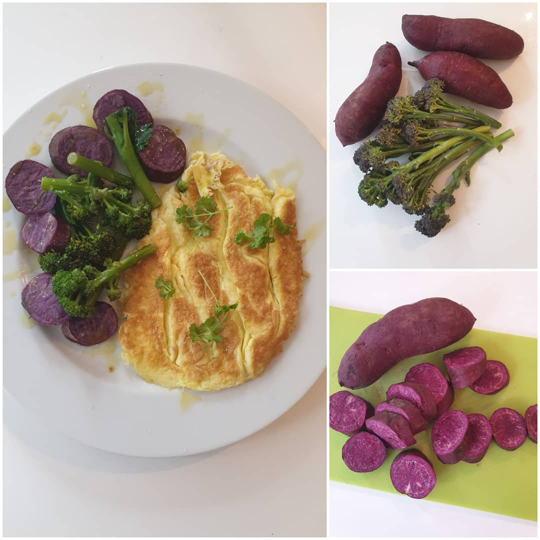 We should vary our daily diet as much as we can, eating colourful vegetables as much as possible. . This was my super-healthy protein and good carbs breakfast today consisting of purple sprouting broccoli, purple sweet potatoes and organic eggs with a drizzle of extra virgin olive oil. . All brightly coloured fruit and vegetables contain antioxidants – compounds which play a key role in protecting our bodies – and many naturally purple-coloured foods contain an antioxidant called anthocyanin. This is a beneficial plant pigment which gives fruit and veg their deep red, purple or blue hues. . This antioxidant can help your immune system and reduce inflammation in the body. . . . . .